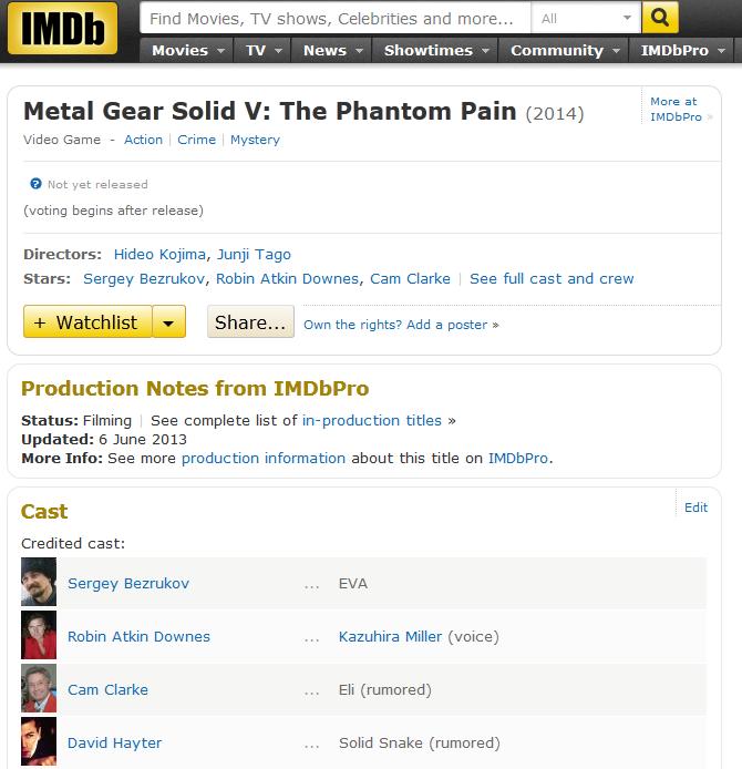 По версии IMDb роль EVA в Metal Gear Solid V досталась Безрукову - Изображение 4