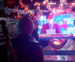 Белокурый Данте смотрит телевизор на кадрах переиздания DmC