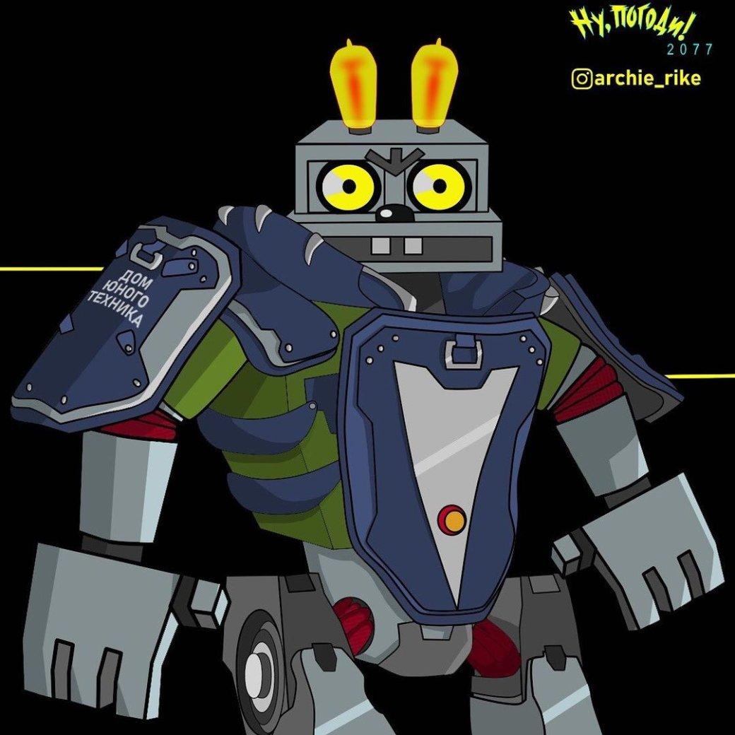 Художник показал героев «Ну, погоди» встиле Cyberpunk 2077. Заяц— Ви, Волк— Джонни Сильверхенд | Канобу - Изображение 10759