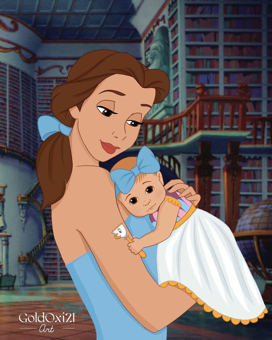 Российская художница изобразила принцесс Disney ввиде мам сдетьми | Канобу - Изображение 12081
