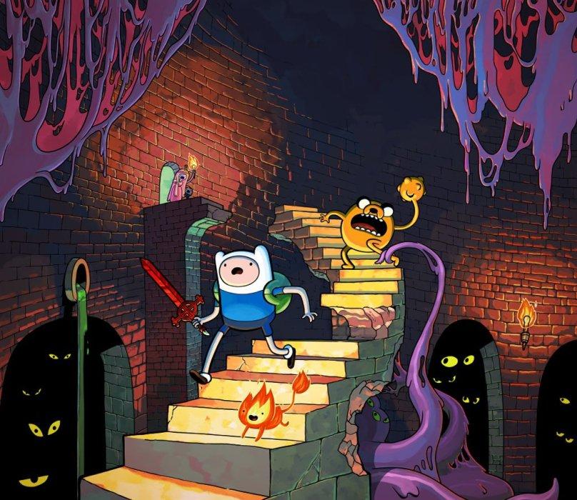 Если вы часто смотрите хороший мультсериал Adventure Time, то, должно быть, знаете, что в перерывах между дикими приключениями герои шоу часто проводят время за странными видеоиграми. Как правило, это плоские, некрасивые, предельно глупые развлечения в духе «два парня убирают комнату», на которые смешно смотреть исключительно в рамках мультфильма – всем понятно, что в реальной жизни в такое не стали бы играть даже преданные фанаты Финна и Джейка. Но из Adventure Time: Explore the Dungeon Because I DON'T KNOW, кажется, делали именно такую игру.
